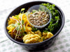 Power Bowl with Kimchi, Creamy Italian, Cacciatore Chickpeas and Cauliflower, and Massaged Kale