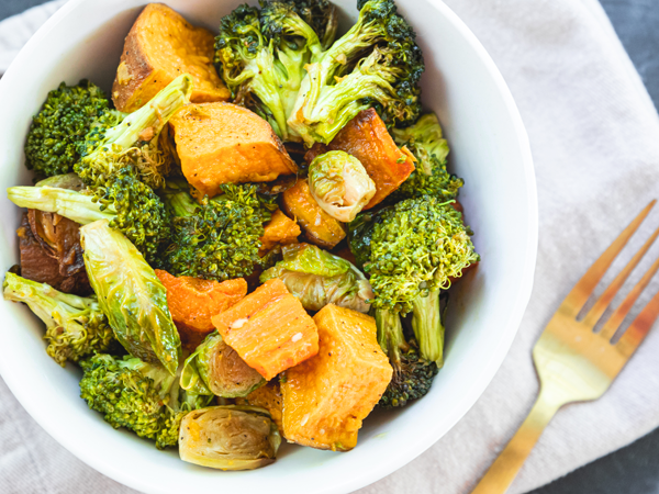Farmer's Roasted Veggies - Brussel Sprouts, Sweet Potatoes, Turnips and Carrots