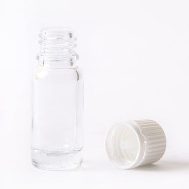 10ml Clear Glass Boston Round Bottle (With White Tamper Evident Cap & Dropper) - Mystic Moments UK