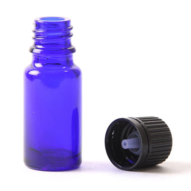 10ml Cobalt Blue Glass Boston Round Bottle (With Black Tamper Evident Cap & Dropper) - Mystic Moments UK