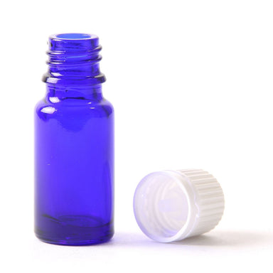 10ml Cobalt Blue Glass Boston Round Bottle (With White Tamper Evident Cap & Dropper) - Mystic Moments UK