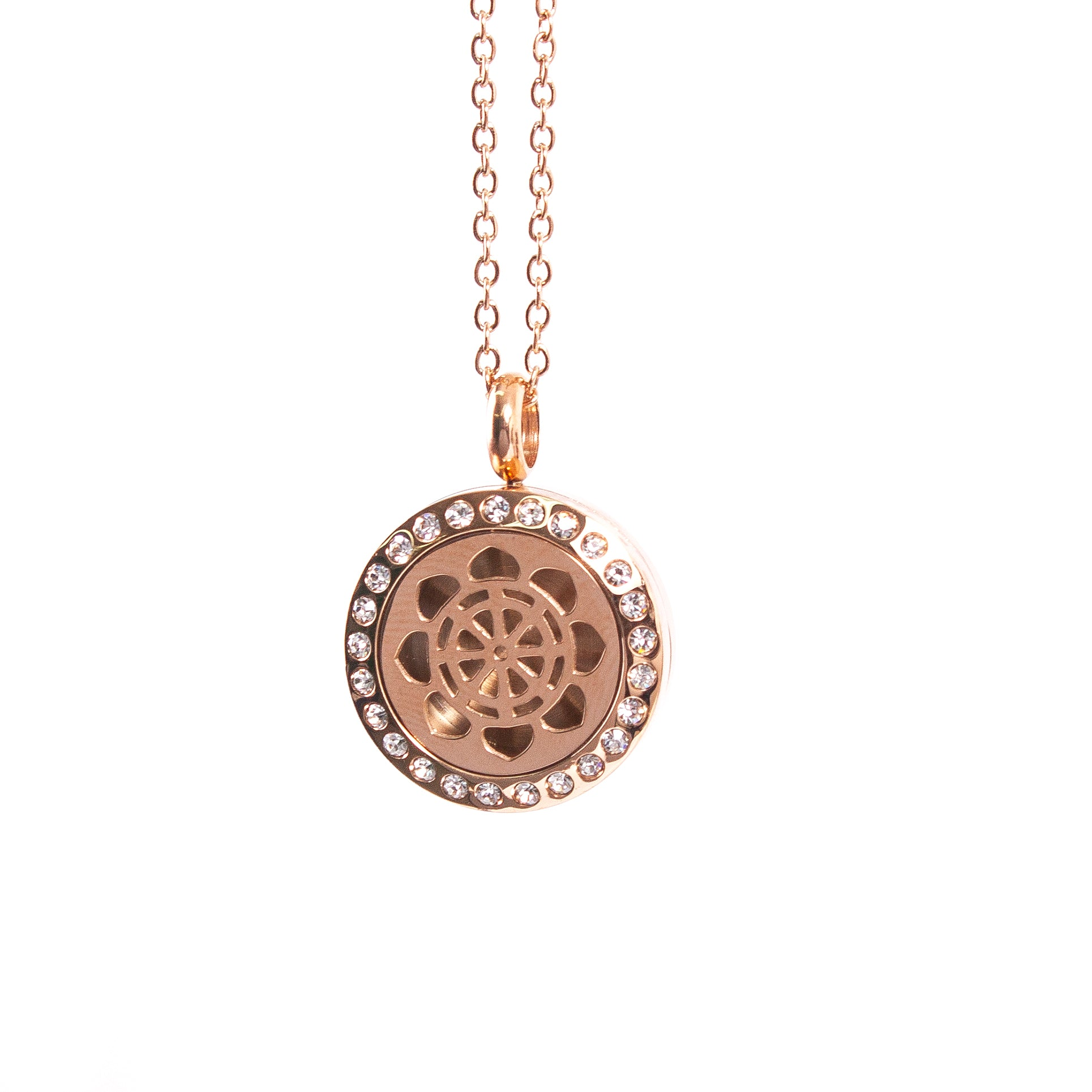 Dharma Wheel | Aromatherapy Oil Diffuser Necklace Locket with Pad