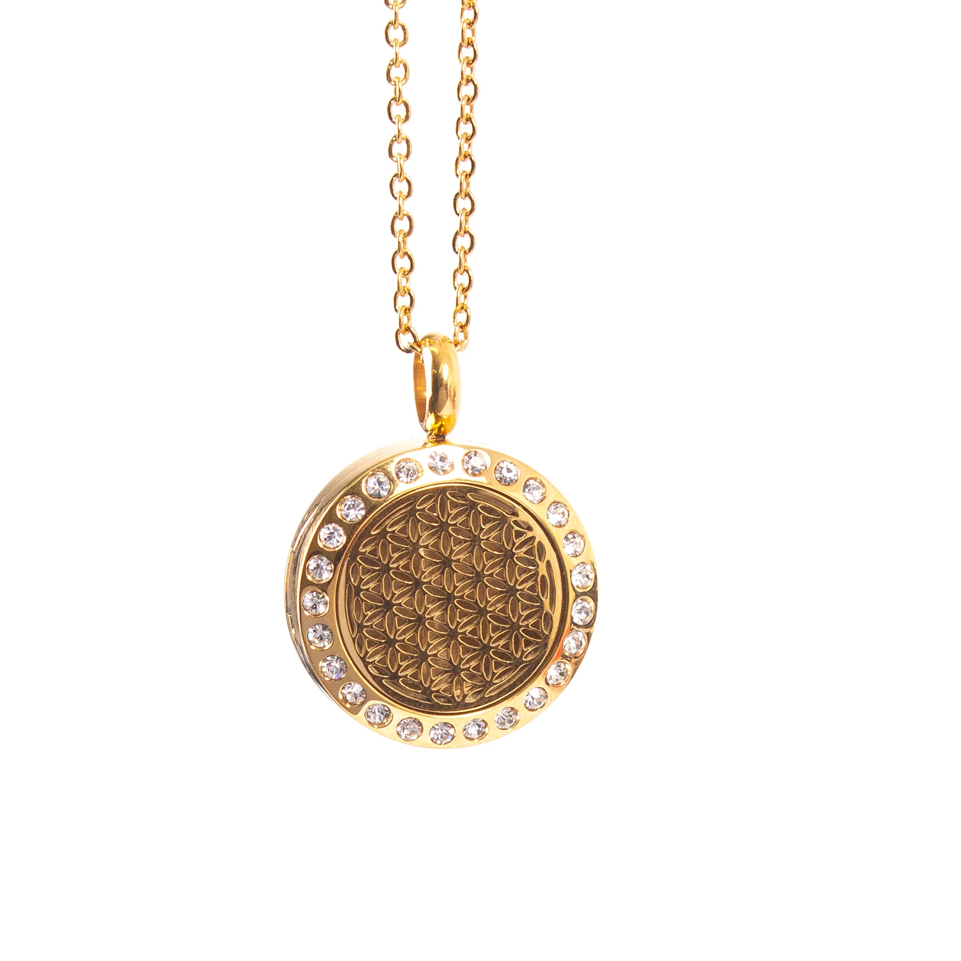 Flower of Life | Aromatherapy Oil Diffuser Necklace Locket with Pad