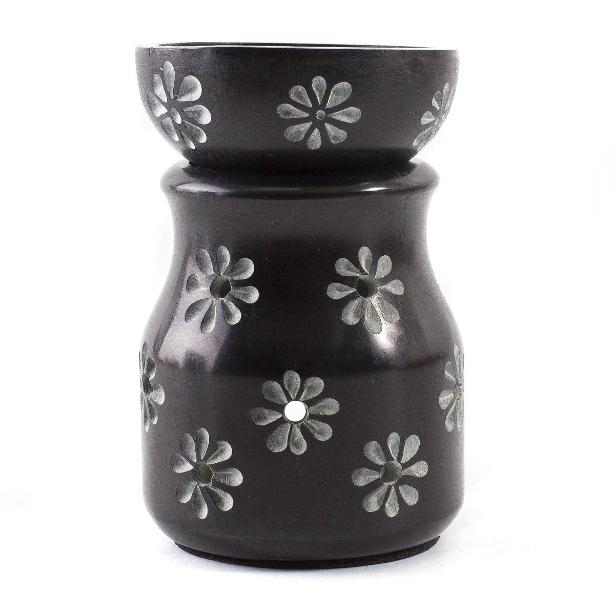 Black with Flowers Soapstone Oil Burner - Mystic Moments UK