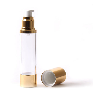 Clear & Gold Chrome 100ml With Cap - Airless Serum Bottles - Mystic Moments UK