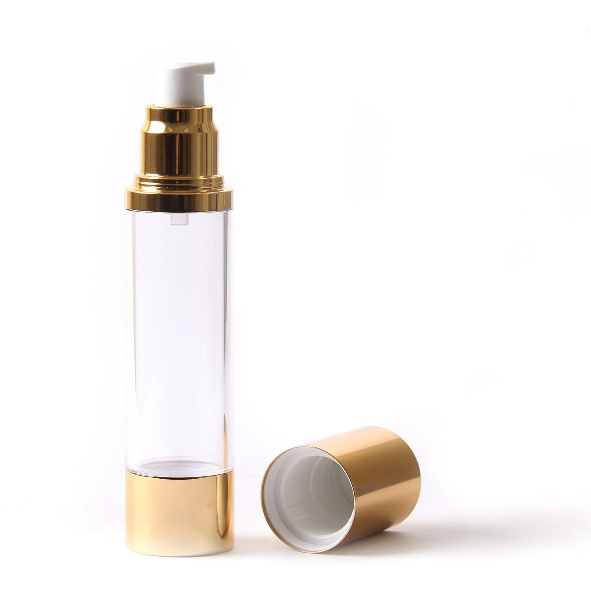 Clear & Gold Chrome 50ml With Cap - Airless Serum Bottles - Mystic Moments UK