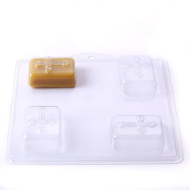 Cross/Crucifix Soap/Bath Bomb/Plaster Mould 4 Cavity M155 - Mystic Moments UK