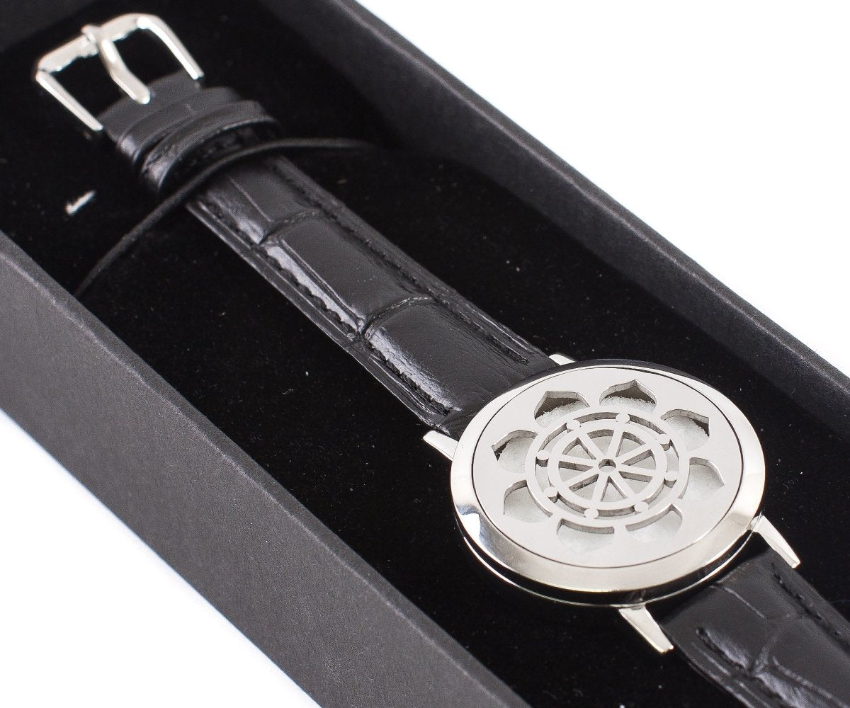Dharma Wheel | Aromatherapy Oil Diffuser Bracelet with Adjustable Leather Strap - Mystic Moments UK