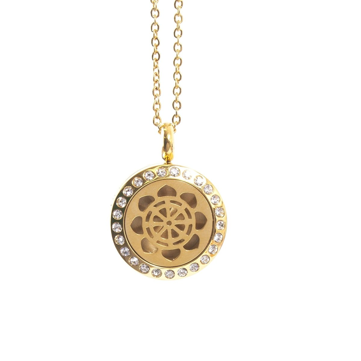 Dharma Wheel | Aromatherapy Oil Diffuser Gold Necklace Locket with Pad - Mystic Moments UK