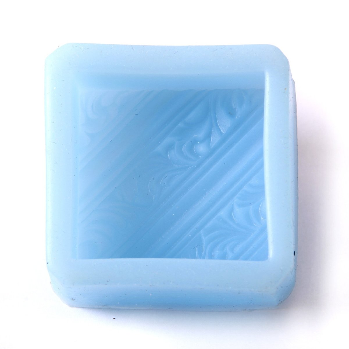 Diagonal Lines and Rococo Swirls Square Silicone Soap Mould R0134 - Mystic Moments UK