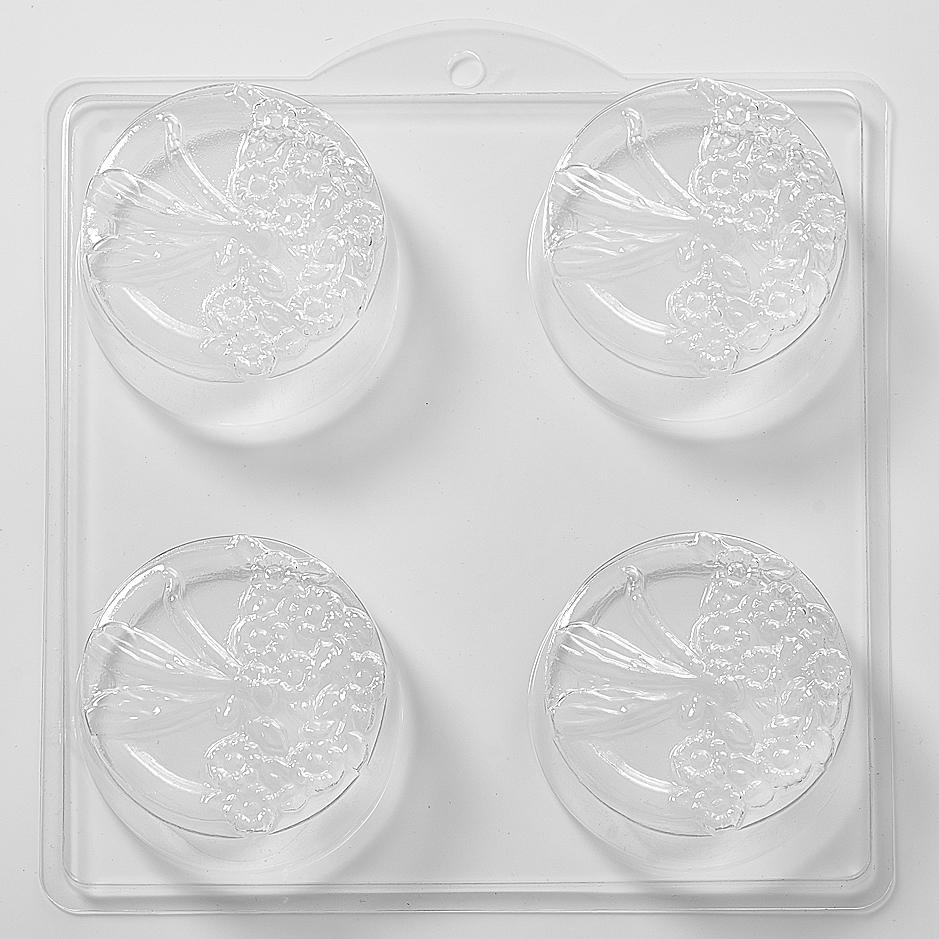 Dragonfly and Flowers Round PVC Mould (4 Cavity) L36 - Mystic Moments UK