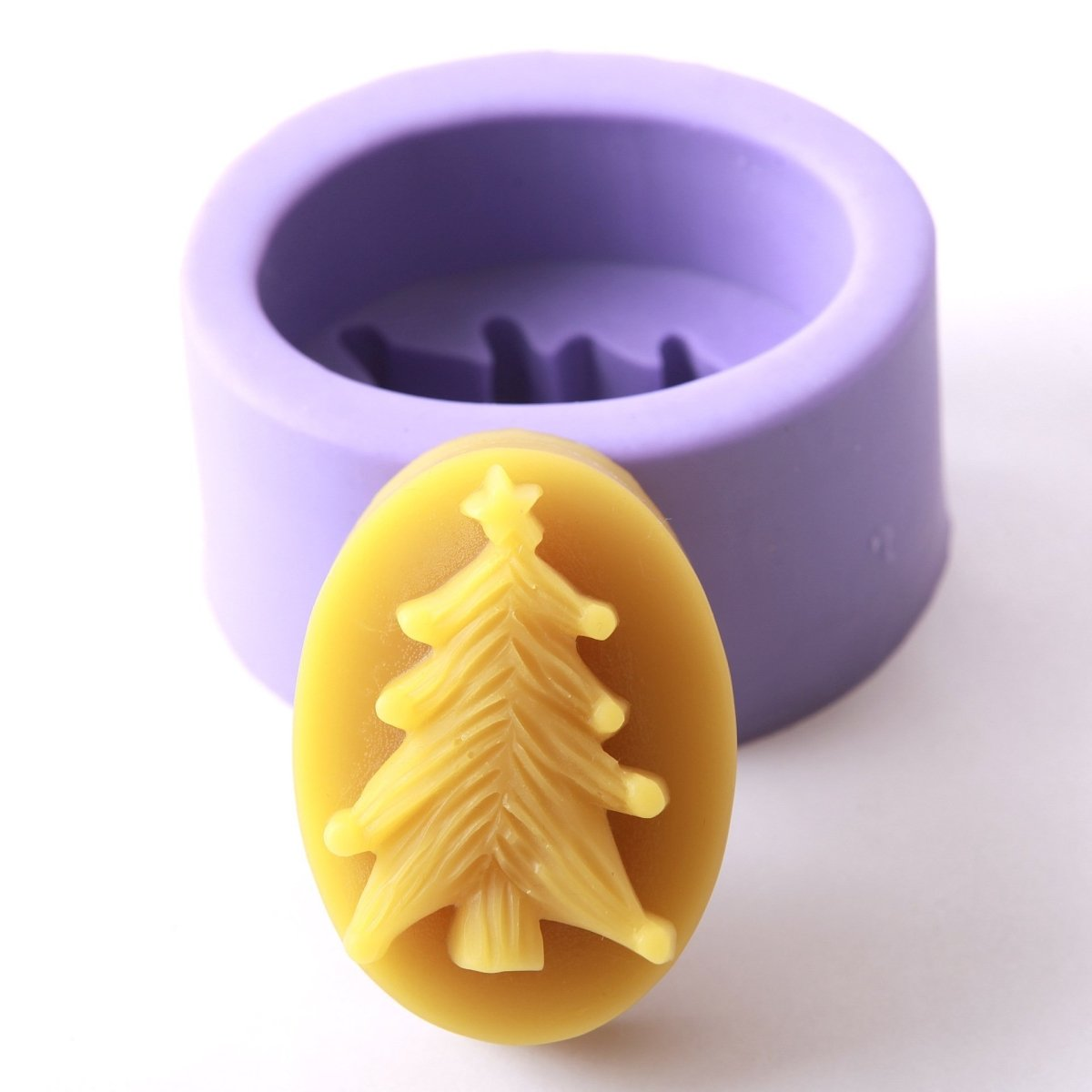 Embossed Christmas Tree Silicone Soap Mould R0084 - Mystic Moments UK