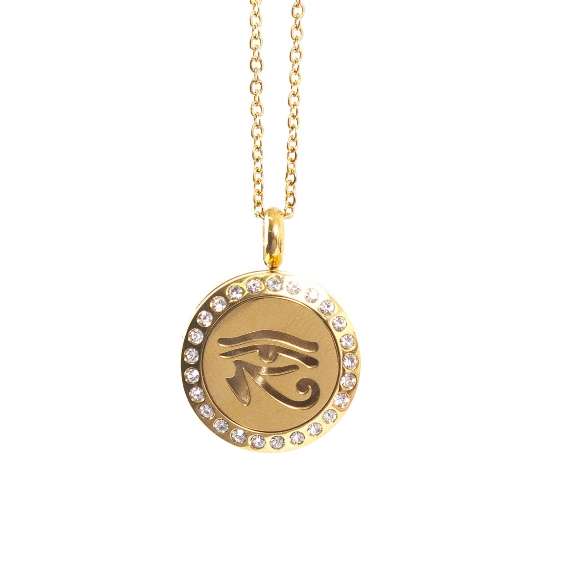 Eye of Horus | Aromatherapy Oil Diffuser Gold Necklace Locket with Pad - Mystic Moments UK