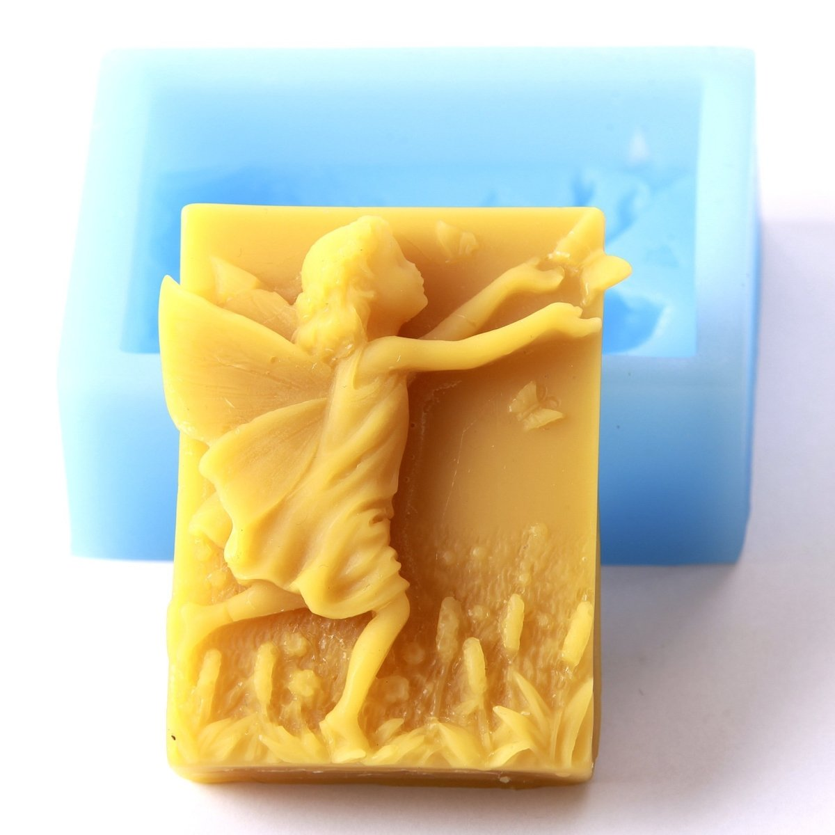 Fairy and Butterfly Rectangle Silicone Soap Mould R0720 - Mystic Moments UK