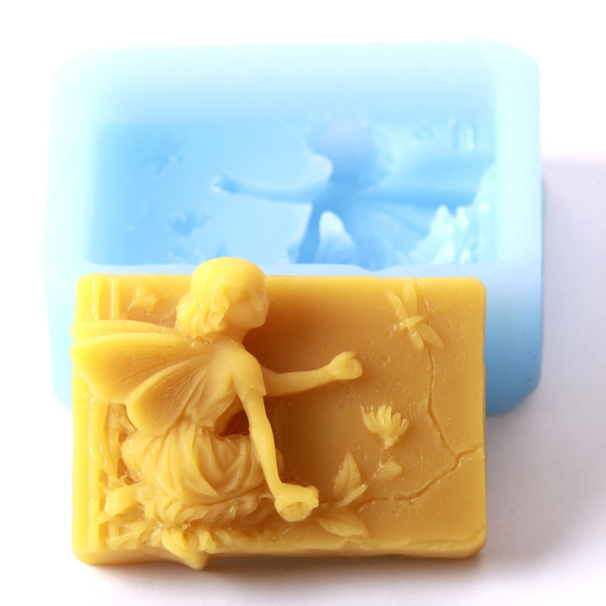 Fairy Sitting Rectangle Silicone Soap Mould R0556 - Mystic Moments UK