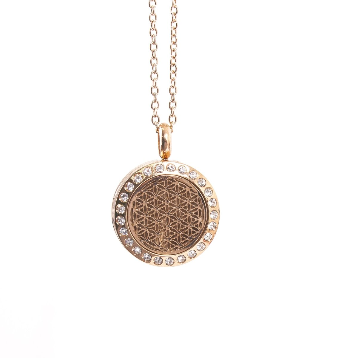 Flower of Life | Aromatherapy Oil Diffuser Rose Gold Necklace Locket with Pad - Mystic Moments UK