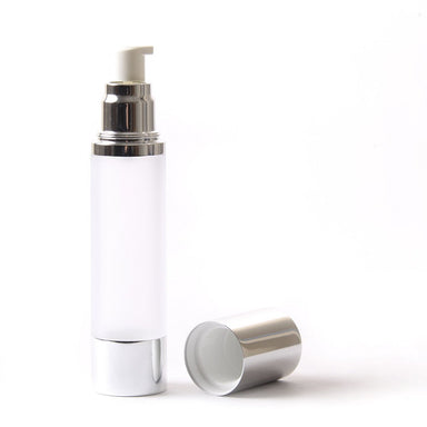 Frosted & Silver Chrome 50ml With Cap - Airless Serum Bottles - Mystic Moments UK
