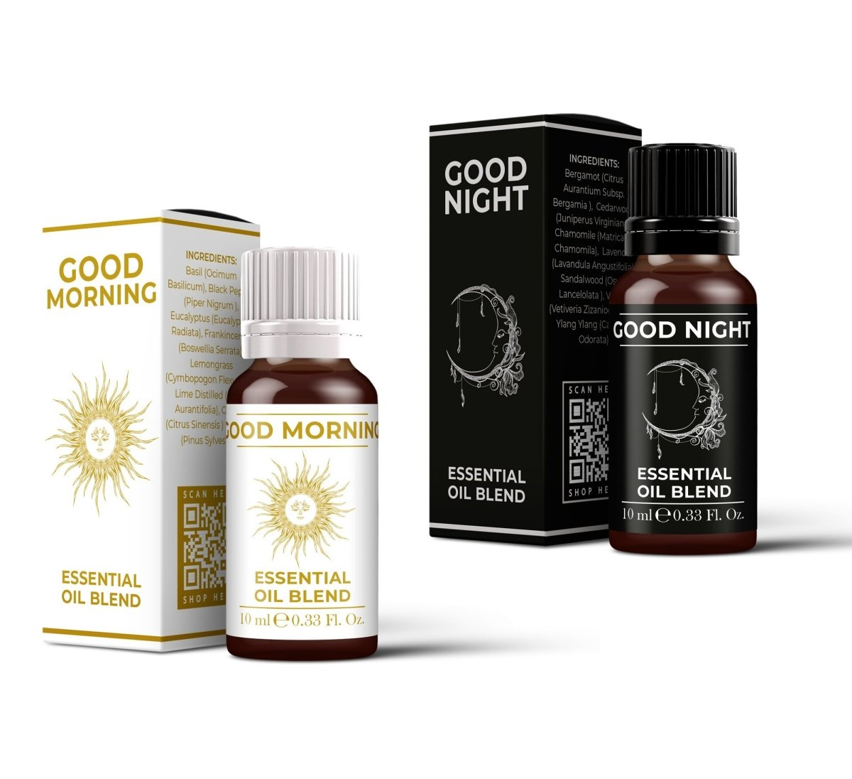 Good Morning & Good Night Essential Oil Blend Twin Pack (2x10ml) - Mystic Moments UK