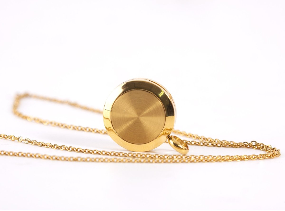 Mystical Moon | Aromatherapy Oil Diffuser Gold Necklace Locket with Pad - Mystic Moments UK
