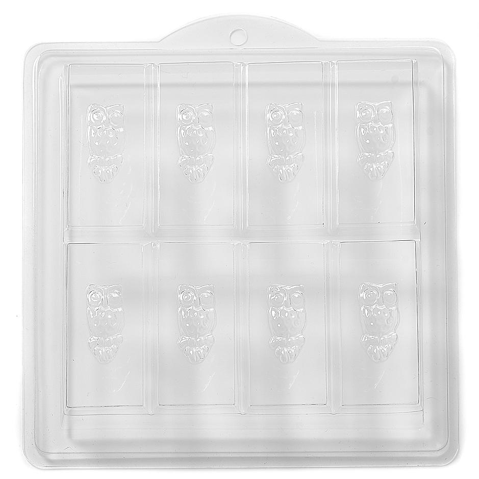 Owl Embossed On Rectangle Soap PVC Mould (8 Cavity) H02 - Mystic Moments UK