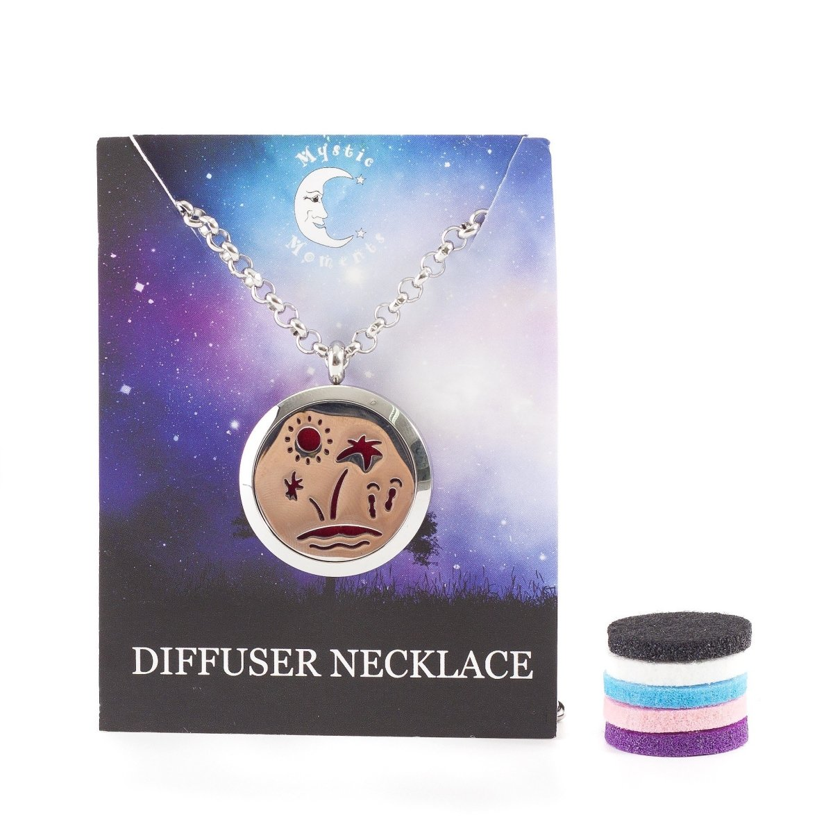 Paradise Island | Aromatherapy Oil Diffuser Pendant Necklace with Pad - Mystic Moments UK