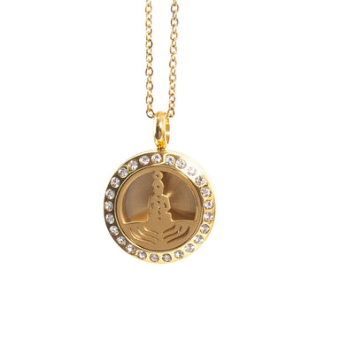 Seven Chakras | Aromatherapy Oil Diffuser Gold Necklace Locket with Pad - Mystic Moments UK