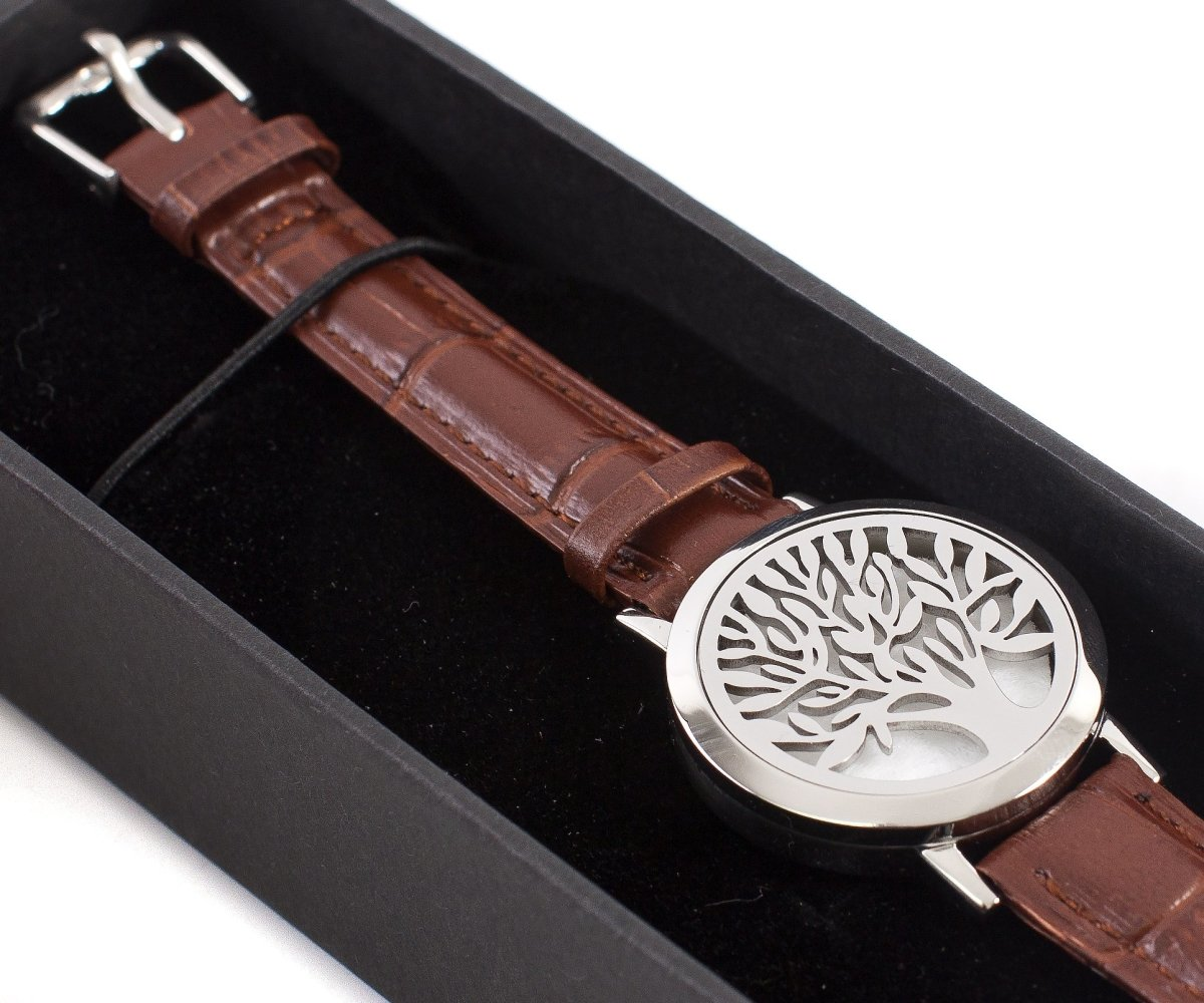 Tree of Life | Aromatherapy Oil Diffuser Bracelet with Adjustable Leather Strap - Mystic Moments UK