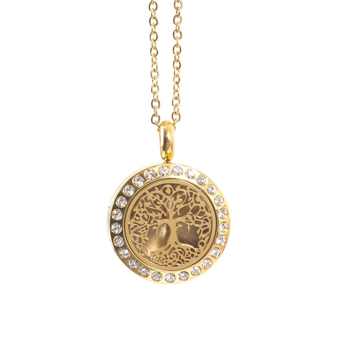 Tree of Life | Aromatherapy Oil Diffuser Gold Necklace Locket with Pad - Mystic Moments UK