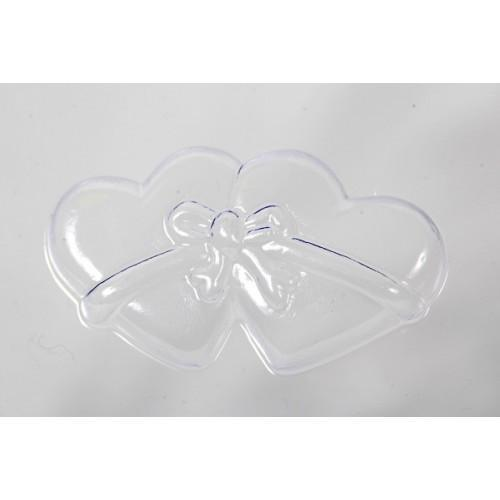 Wedding Favour Soap Mould Mold Double Heart Ribbon Tied 8 Cavity M141 - Mystic Moments UK