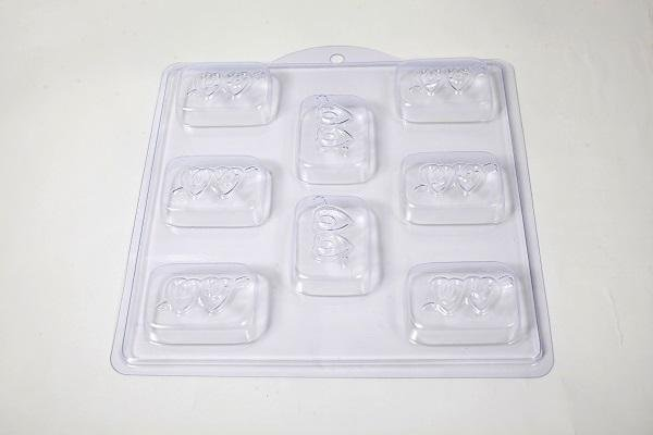 Wedding Favour Soap Mould Mold Double Heart with Arrow 8 Cavity M140 - Mystic Moments UK