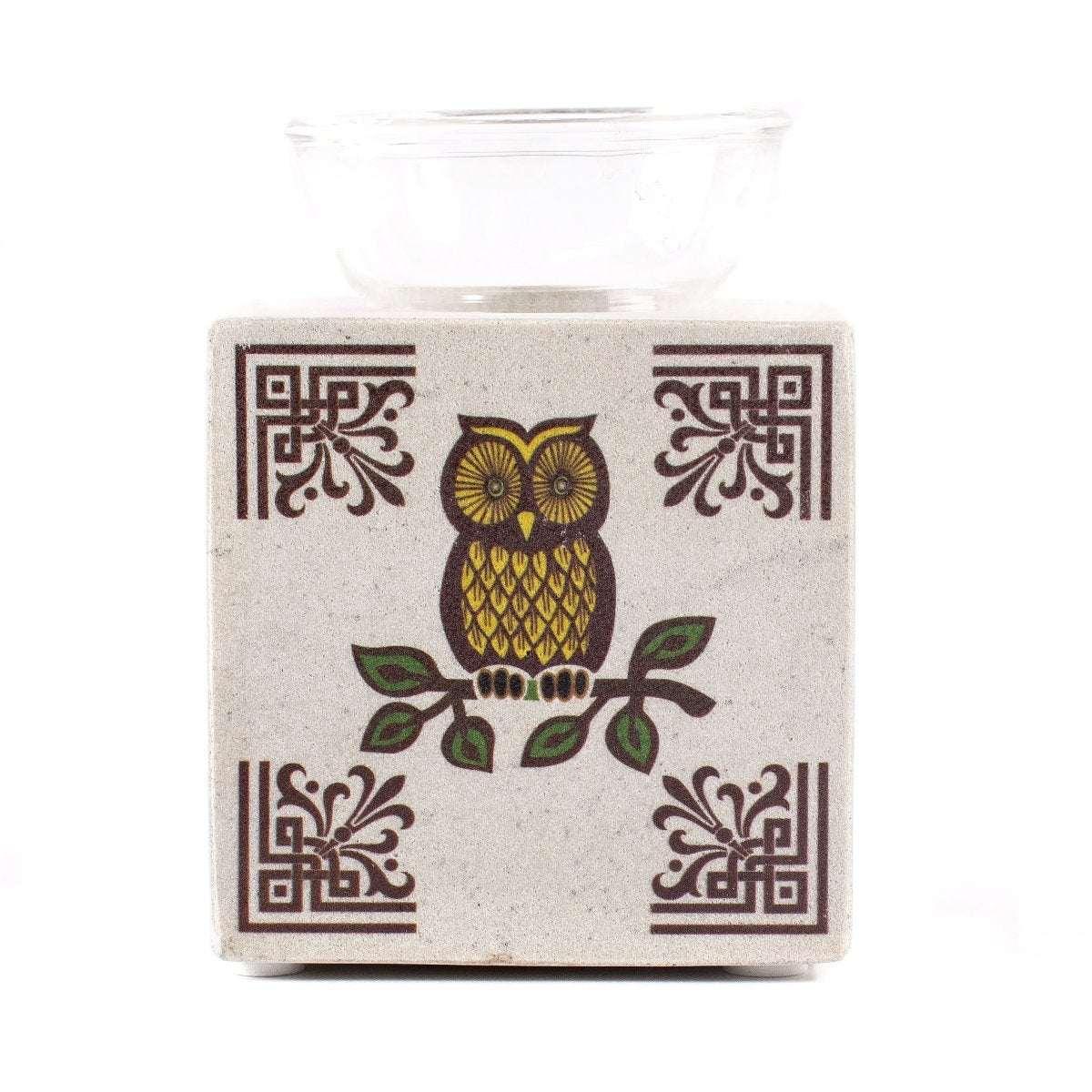 White Box Soapstone Oil Burner with Owl Design - Mystic Moments UK