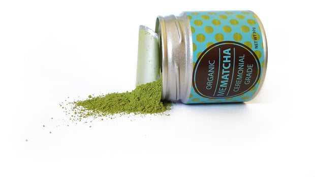 30g tin organic ceremonial grade matcha green tea powder - tipped on side - Mematcha