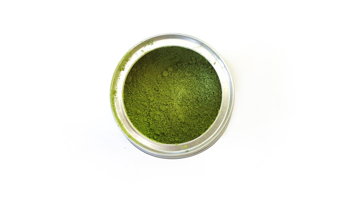 30g tin organic ceremonial grade matcha green tea powder - top open - Mematcha