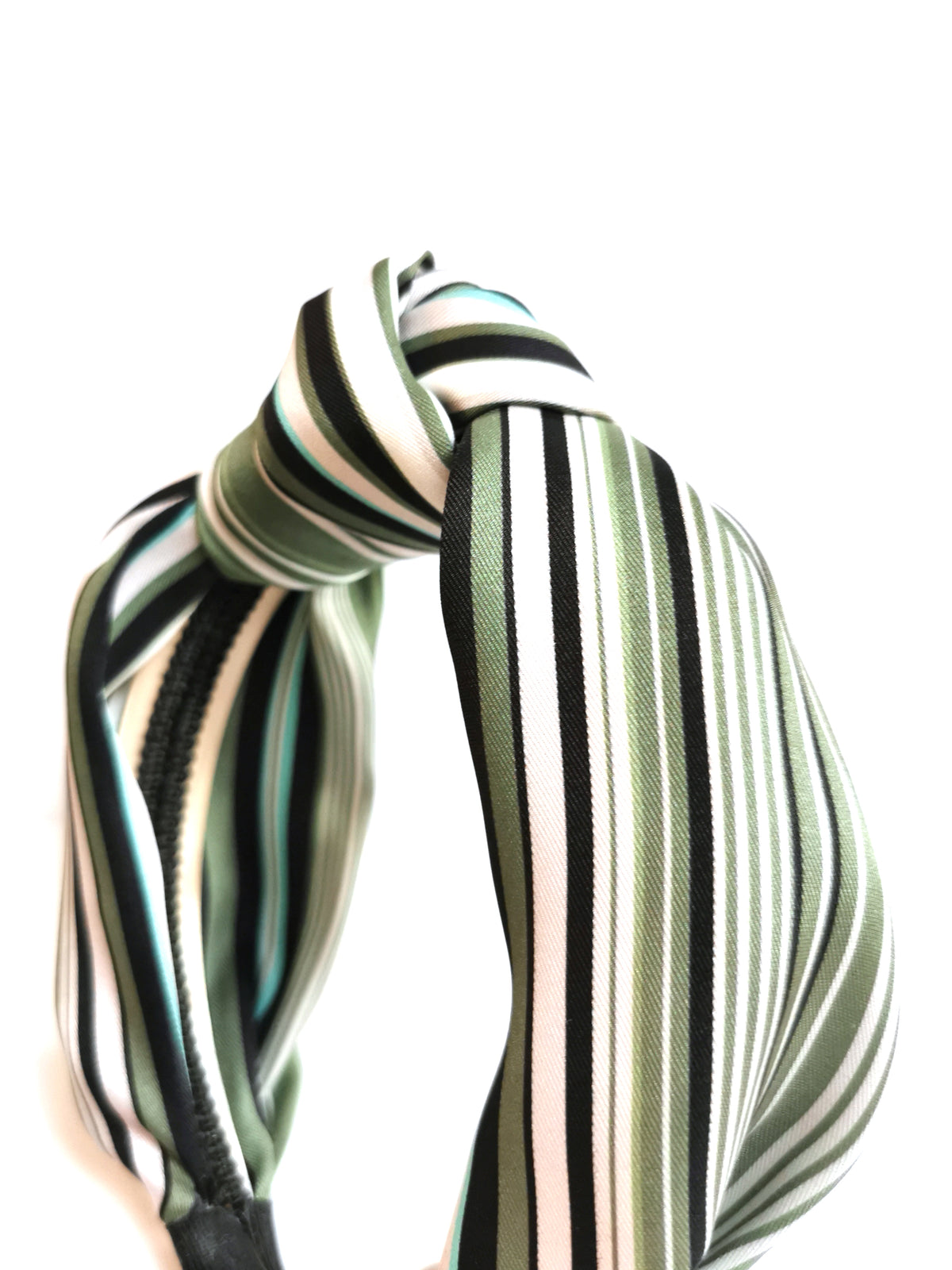 Striped knot top headband - Black & Green & White