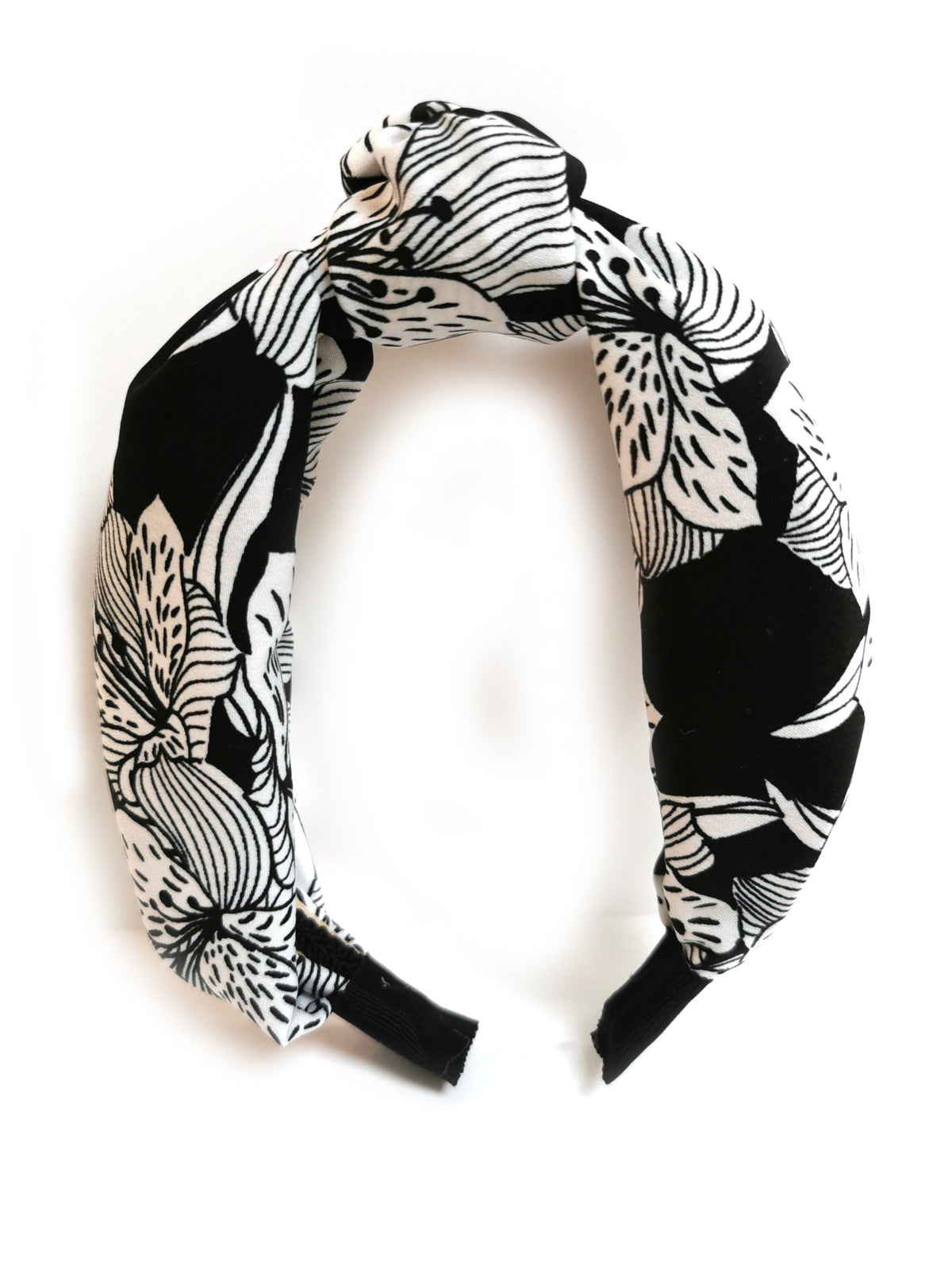 Black & White floral knot top headband