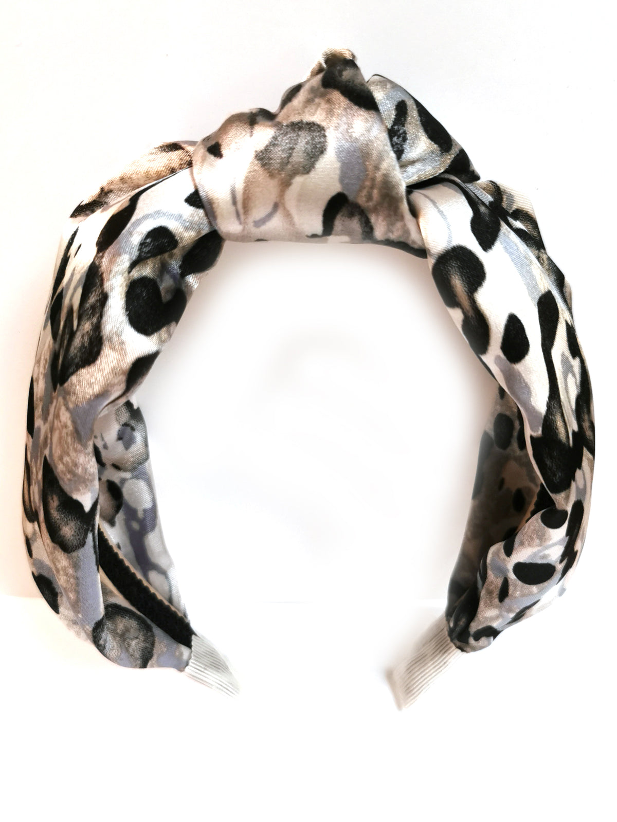 Silk knot top headband - Grey leopard- OCCASIONS RANGE