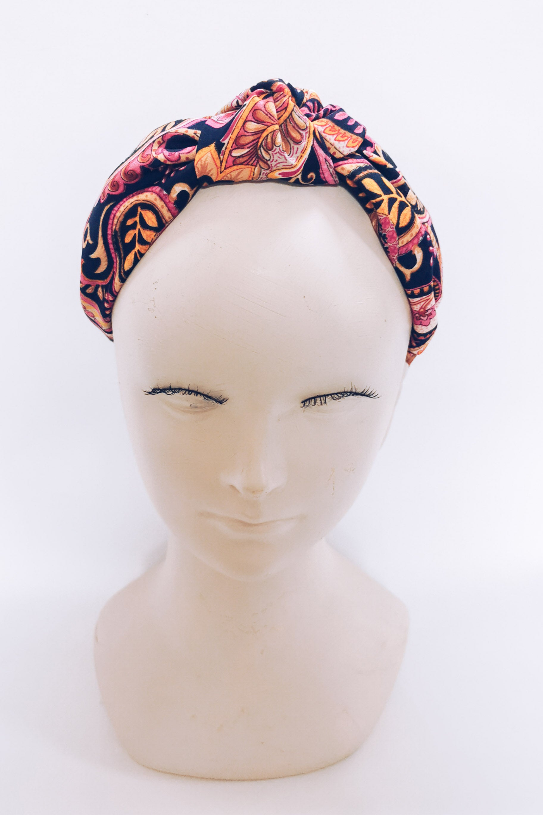 Paisley knot top headband - Pink & Navy