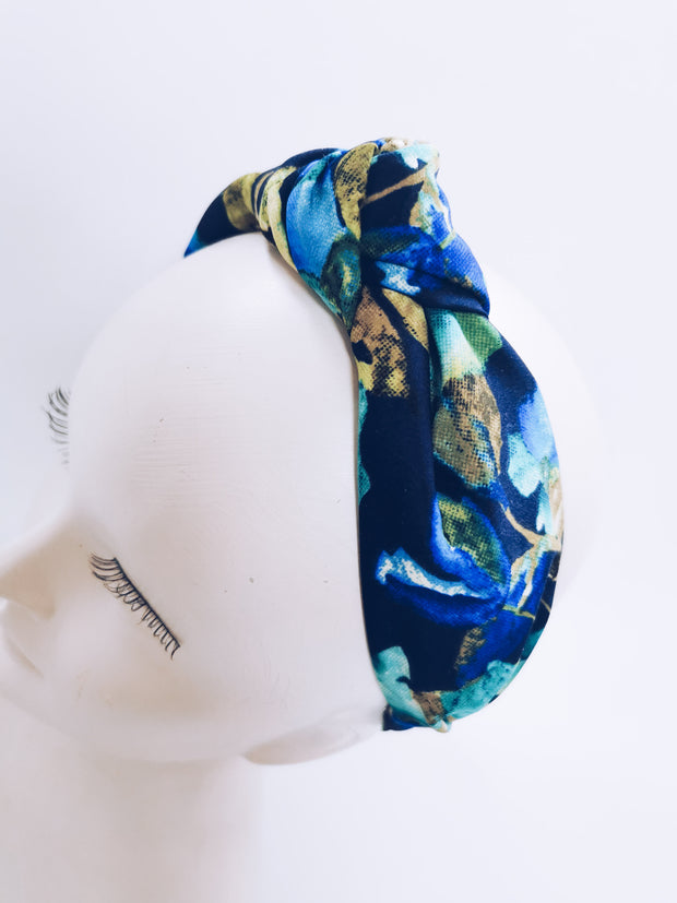 Floral knot top headband - Navy & Green