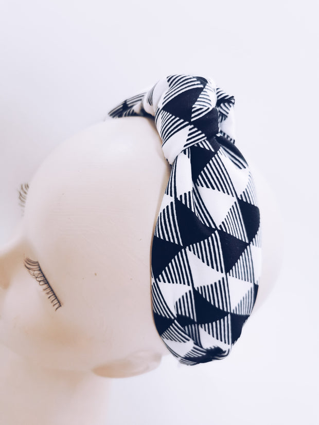 Geometric knot top headband - Monochrome