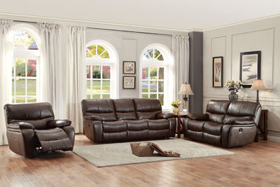 Pecos 3pc Leather Recliner Set Brown