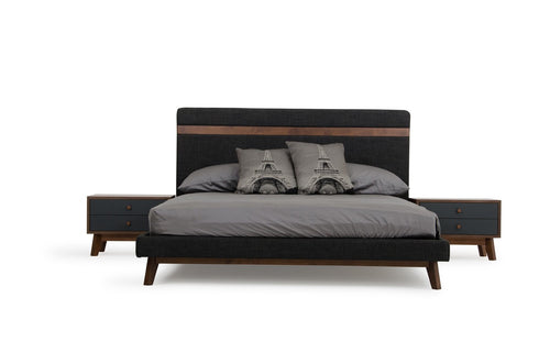 Nova Domus Dali Modern Grey Fabric & Walnut Bed Queen