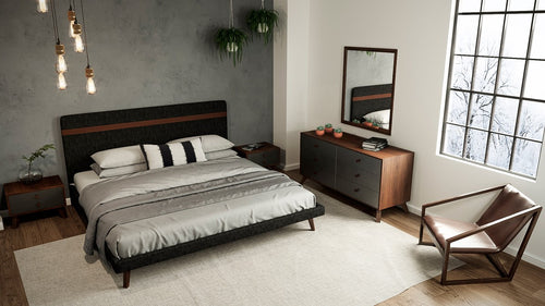 Nova Domus Dali Modern Grey Fabric & Walnut Bed King