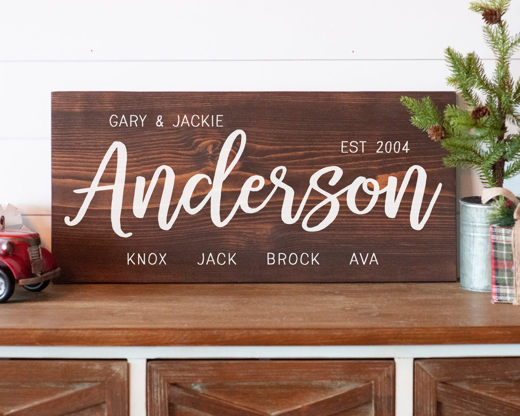 Family Names Sign For Private Event