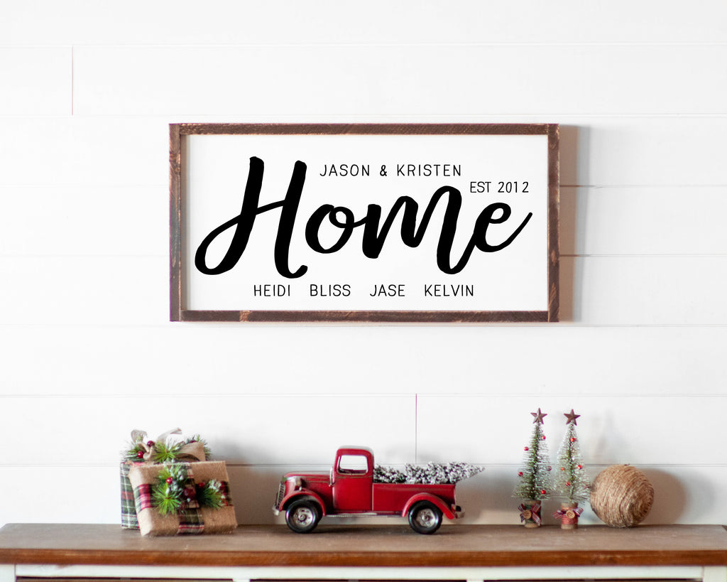 Blended Family Name Wood Sign
