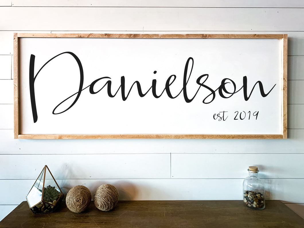 Mother's Day Gift | Large Traditional Framed Last Name Family Sign