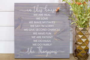 In This House We Do Love | Personalized Family Name Wood