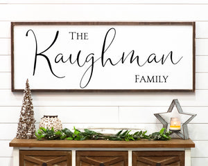 Traditional Large Framed Last Name Family Sign