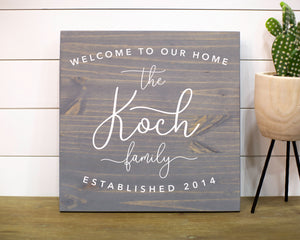 Welcome to Our Home Family Name Framed Sign