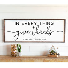 In Every Thing Give Thanks Sign | Great Room Wall Decor | Rustic Farmhouse | Dining Room Sign Gift for Her Home Decor Gift