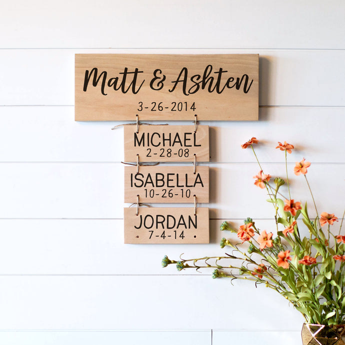 Mother's Day Gift | Family Names Wood Sign | Personalized Family Name Signs | Housewarming Gift |Anniversary Gift